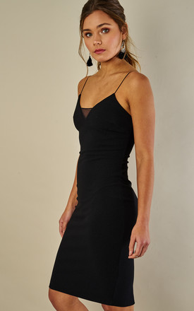 Black mesh insert strappy midi dress by Phoenix & Feather