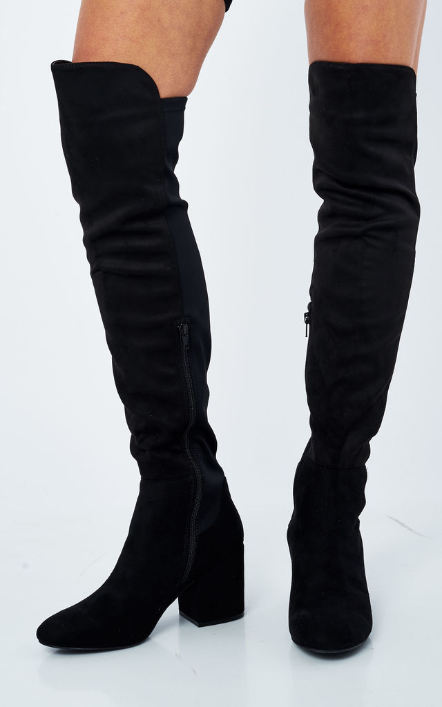 bab5e4054f Black Faux Suede Over The Knee Riding Boots | Truffle Collection ...