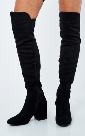 Black Faux Suede Over The Knee Riding Boots by Truffle Collection Product photo