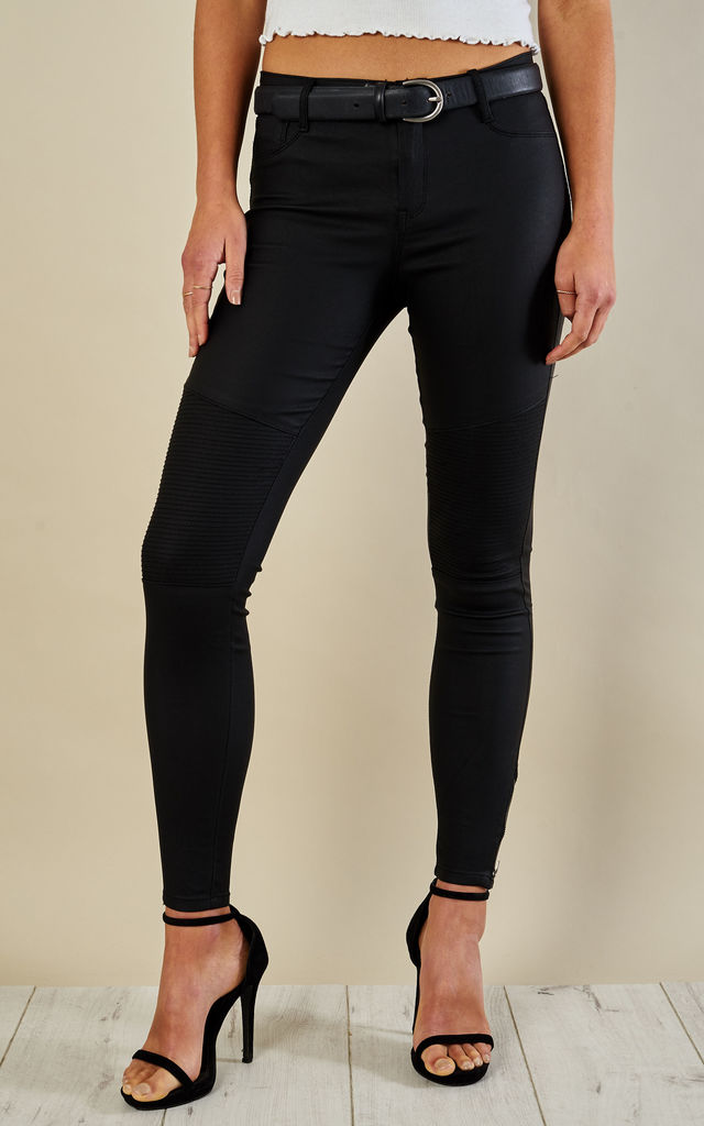Black Coated Trousers with Ribbed Knees by Glamorous
