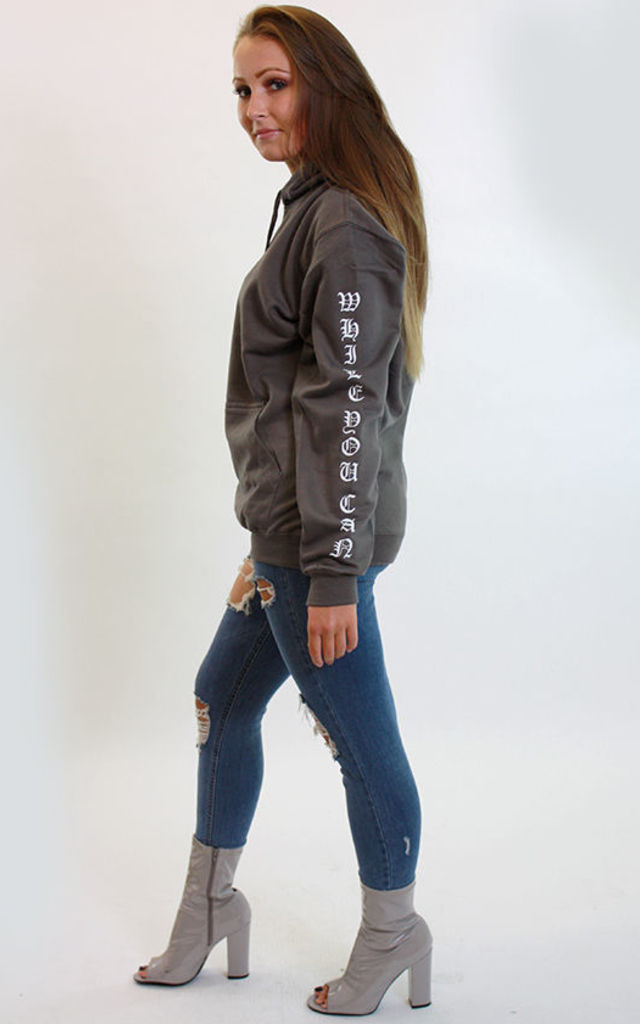Hoodie in Grey with Enjoy Life Slogan by Save The People