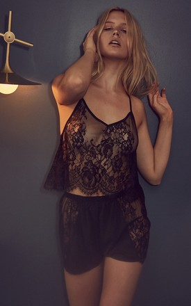 ZILA BLACK LACE CROPPED PYJAMA SET by Wolf & Whistle