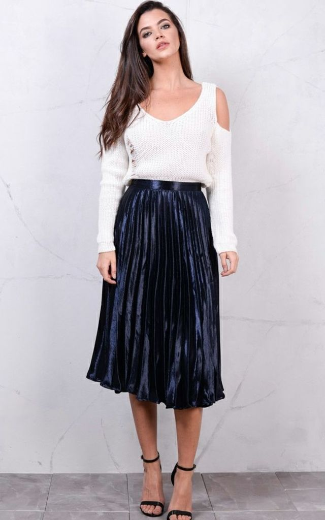 Pleated Satin Metallic Midi Skirt Navy Blue by LILY LULU FASHION