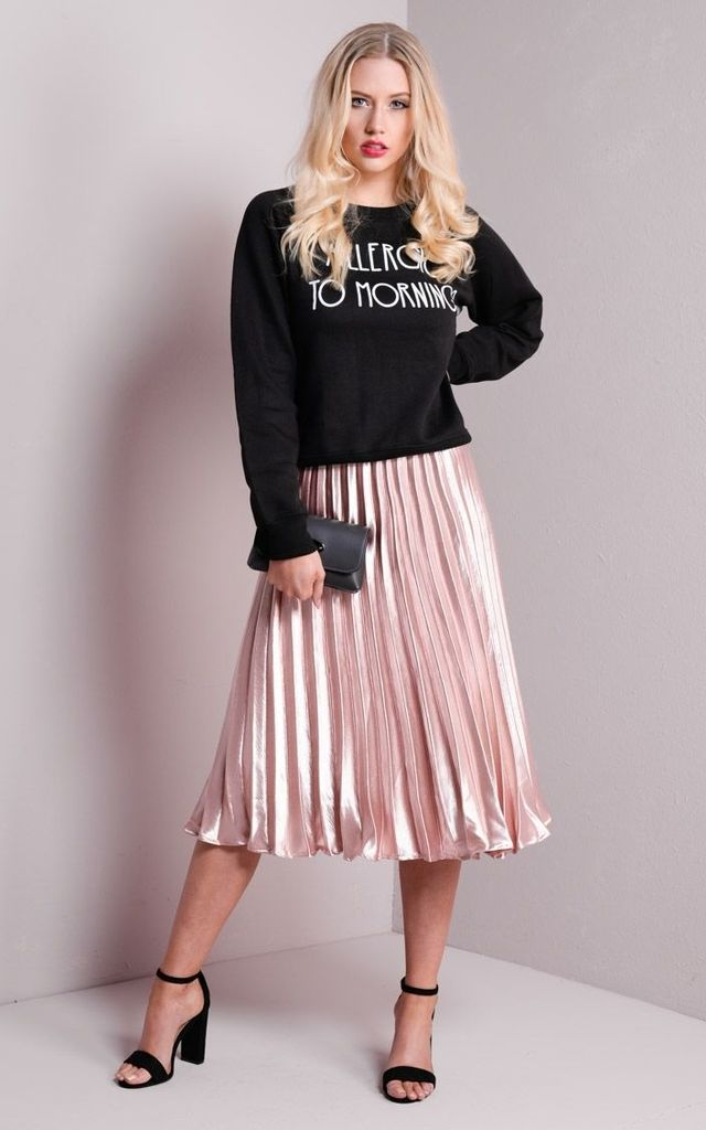 Pleated Satin Metallic Midi Skirt Rose Gold Silkfred