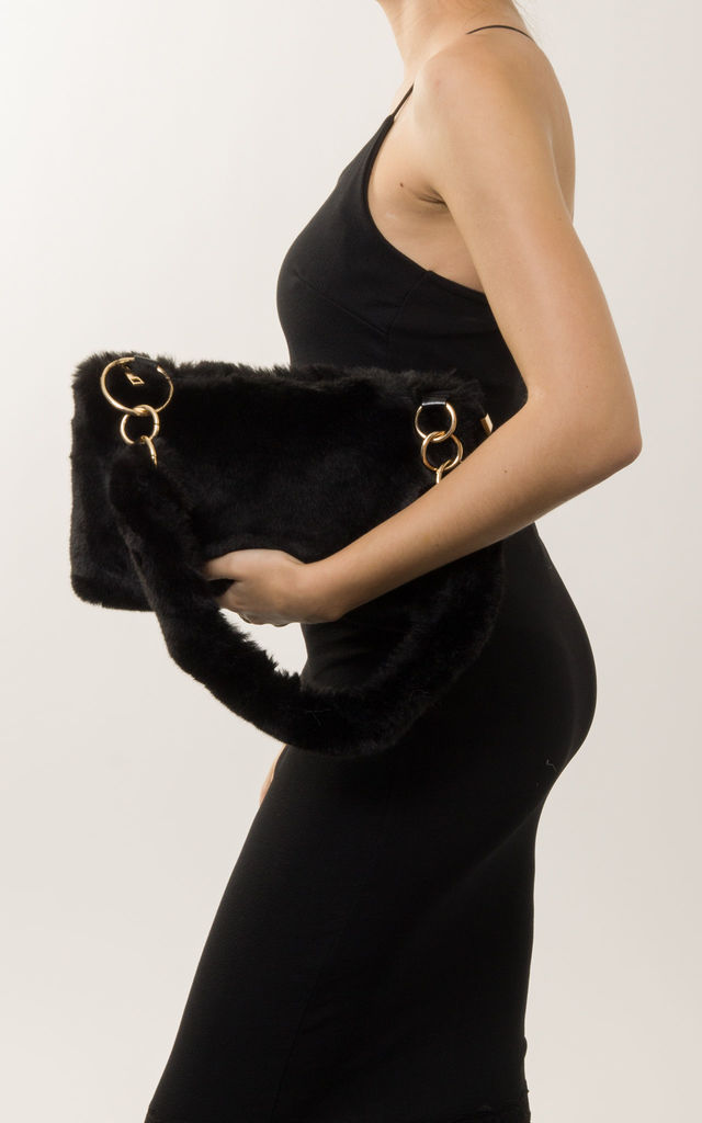 Kourtney Faux Fur Handbag in Black by KoKo Couture