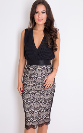 Naomi Pleated Plunge Lace Bodycon Midi Dress Black by Girl In Mind Product photo