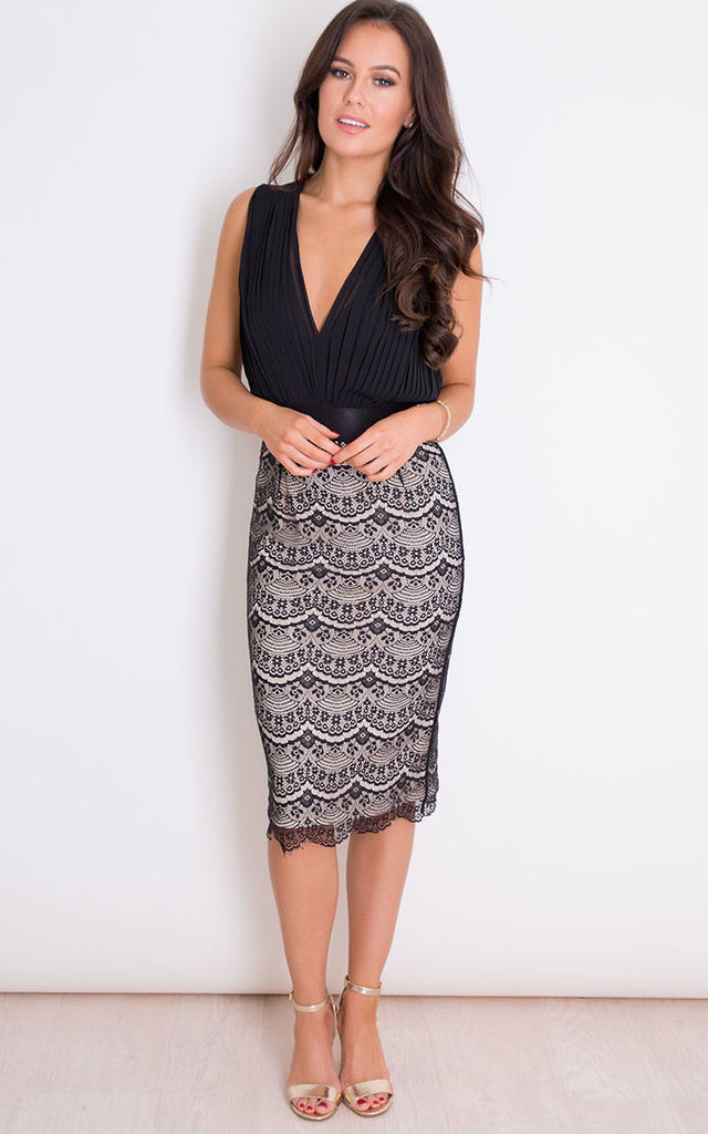 Naomi Pleated Plunge Lace Bodycon Midi Dress Black by Girl In Mind
