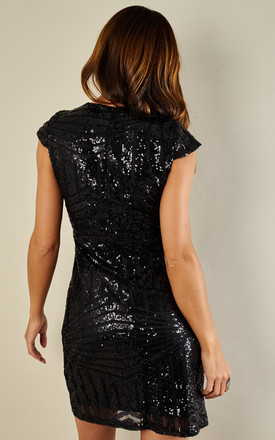 Black sequin V neck dress by Luna