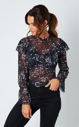 Star Printed Mesh Dolores Navy Top by TFNC