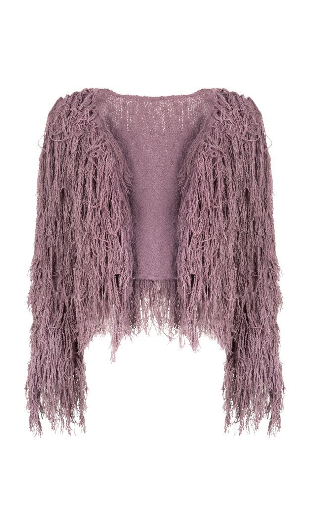 Purple Knitted Shaggy Jacket by Narlaka