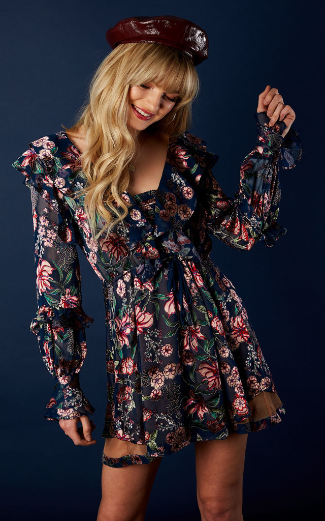 NAVY FLORAL DRAWSTRING MINI DRESS For Love and Lemons by For Love And Lemons