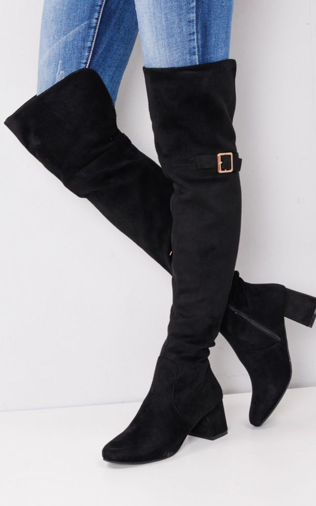 Over the Knee Buckle Block Heel Boots Black by LILY LULU FASHION