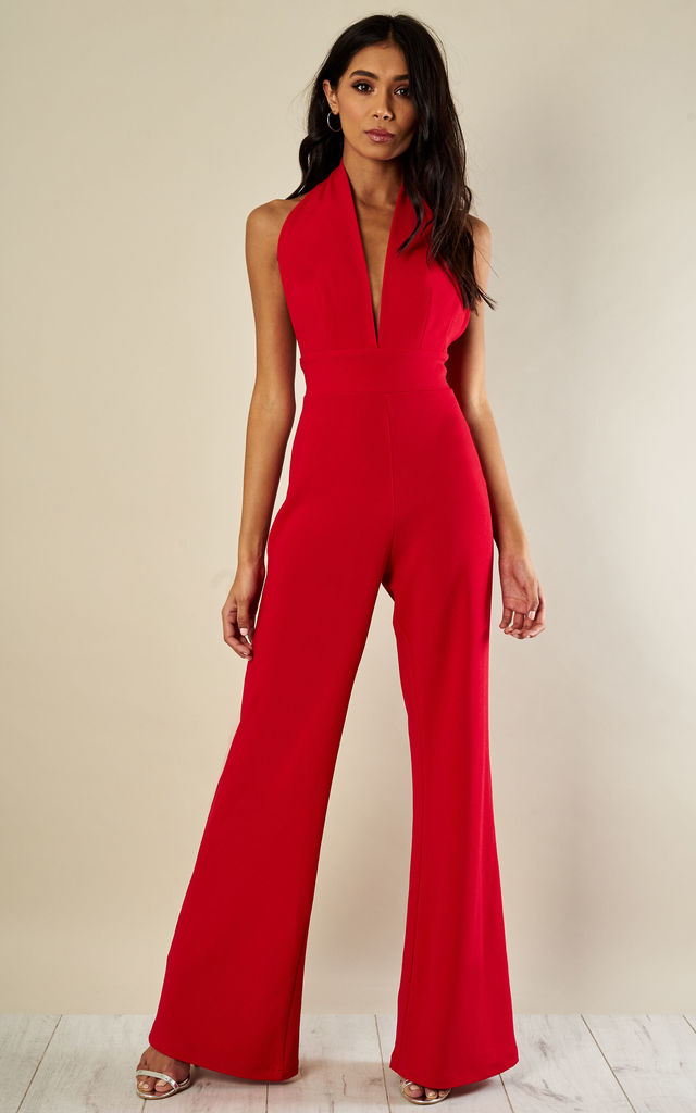 Red Halterneck Jumpsuit by Phoenix + Feather