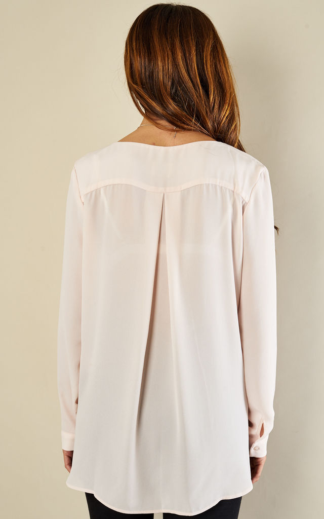 Peach Blush Long Sleeve Collarless Shirt by VILA