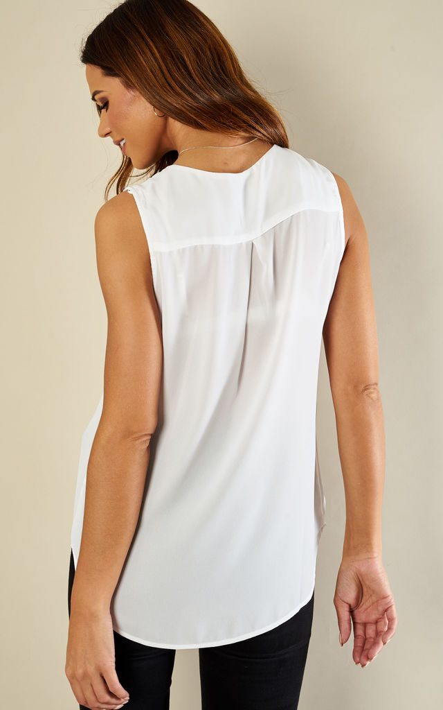 Snow White Sleeveless Collarless Top by VILA