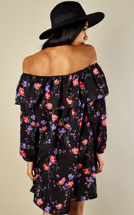 Black Purple Poppy Off the shoulder dress by Glamorous