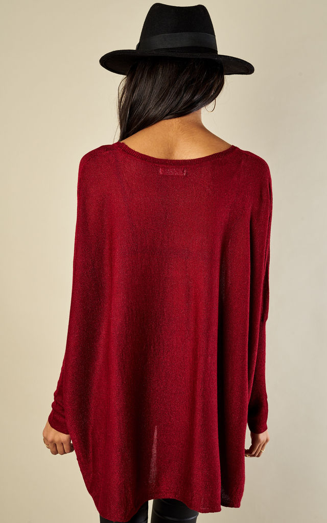 Wine Lurex Baggy Fine Knit Jumper by Bella and Blue
