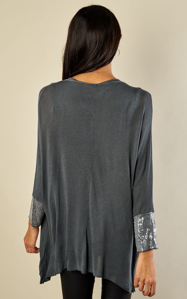 GREY SEQUIN CROSSOVER TOP by Lilah Rose