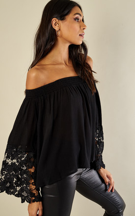 Black lace bell sleeve top by Glamorous