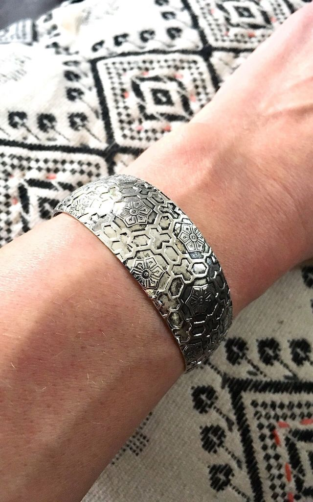 Ethnic silver geometric engraved cuff by Lovelock jewels