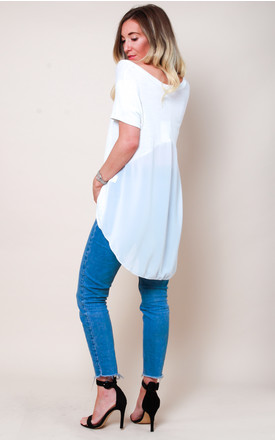 Dipped Hem T-shirt Blouse - White by Pretty Lavish