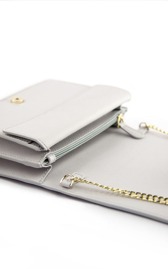 Small Leather Chain Bag - Grey by Pretty Lavish