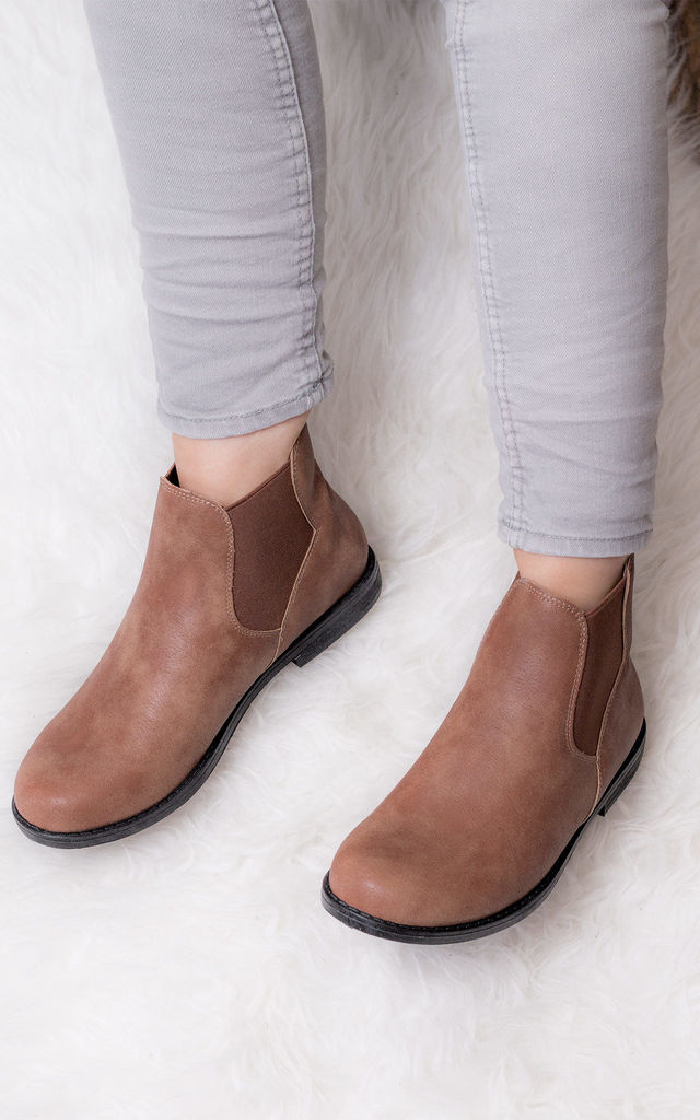 MAXIMO Flat Chelsea Ankle Boots - Tan Leather Style by SpyLoveBuy