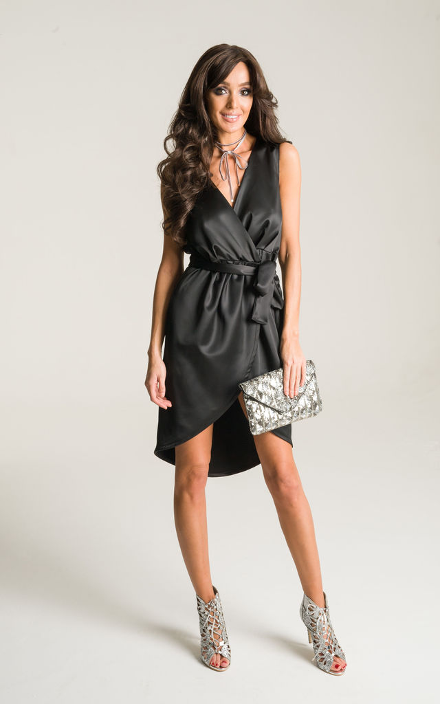 Black Wrap Around Satin Dress Lady Flare Silkfred