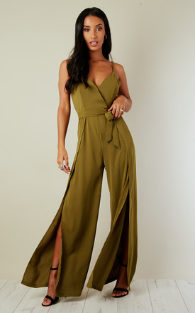 Khaki Split Leg Wrap Over Jumpsuit by Oeuvre Product photo