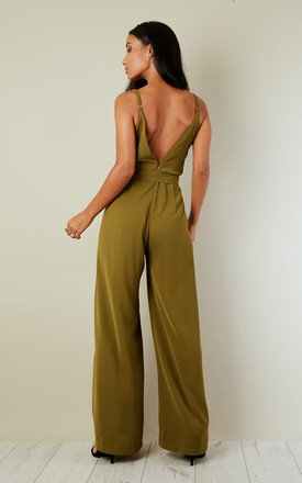 Khaki Split Leg Wrap Over Jumpsuit by Oeuvre