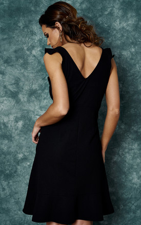 BLACK SCUBA CREPE DRESS WITH CASCADING RUFFLES by The Vanity Room