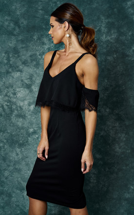 BLACK COLD SHOULDER DRESS WITH LACE DETAIL by The Vanity Room