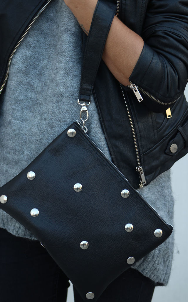 STUDDED CLUTCH by THE CODE HANDBAGS