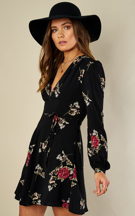 Black wild flower V neck dress by Glamorous