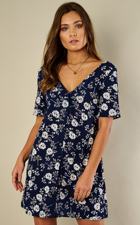 Navy Buttercup Button Front Short Sleeve Dress by Glamorous Product photo