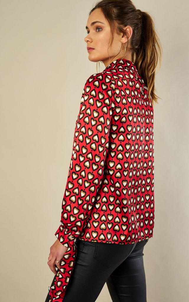 Red Heart Print Blouse by Glamorous