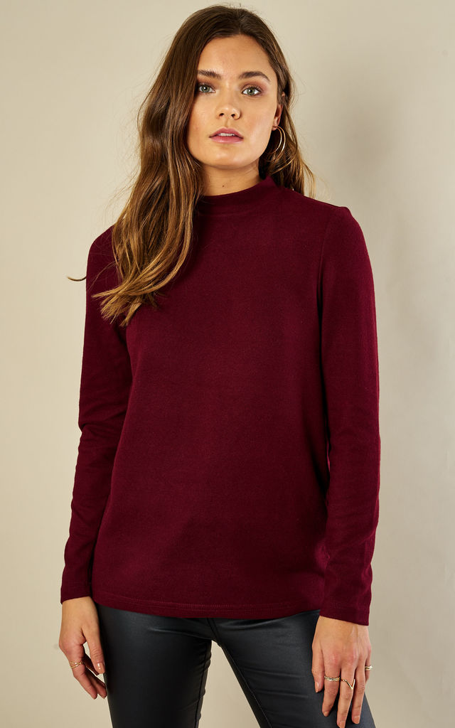 Burgundy Long Sleeved High Neck Top by Noisy May