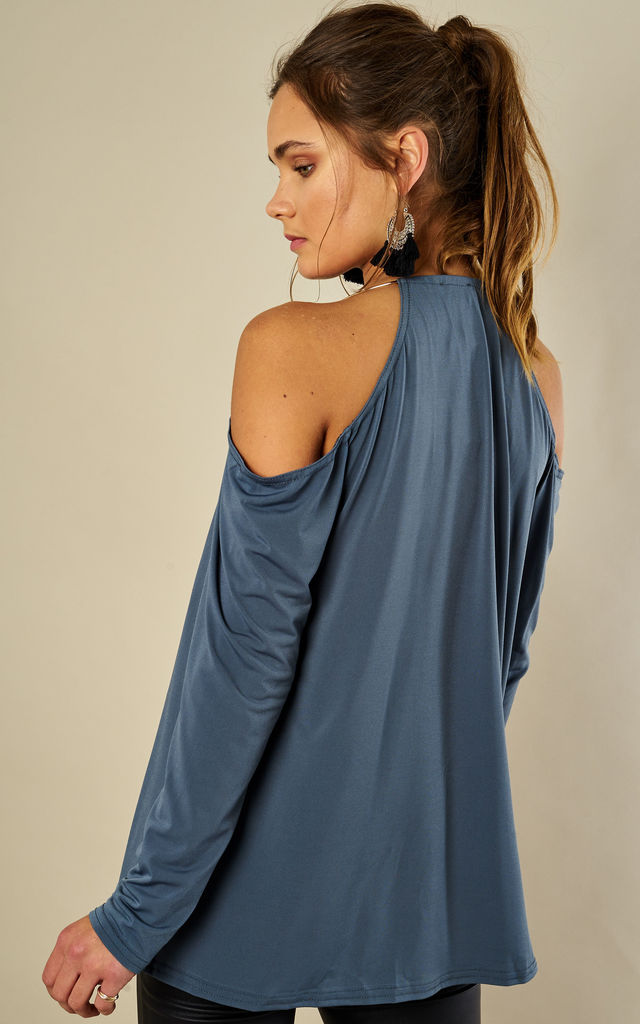 Air Force Blue V Neck Cold Shoulder Top With Gold Hoop Collar by John Zack