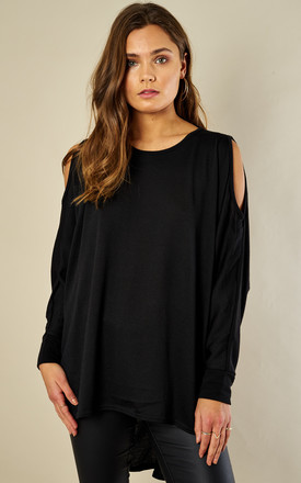 Black Cold Shoulder Batwing Longline Top by Bella and Blue Product photo