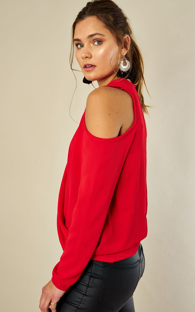 Red Crepe Cold Shoulder Long Sleeve Drape Top by Bella and Blue
