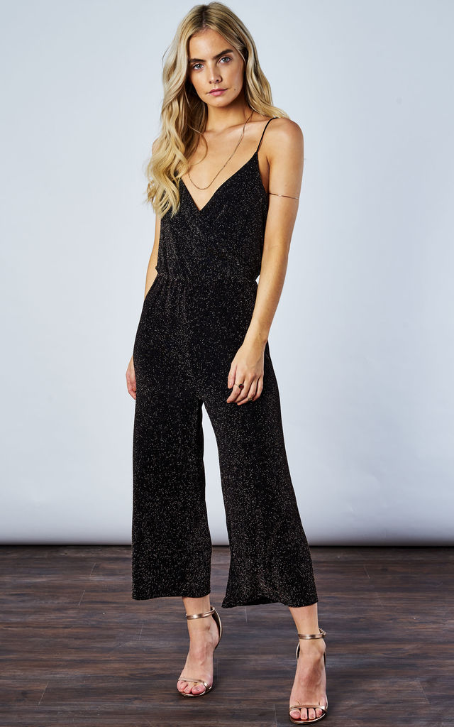 BLACK/GOLD LUREX JUMPSUIT by If By Sea