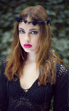 Black Rose Garland Flower Crown by Stephanieverafter