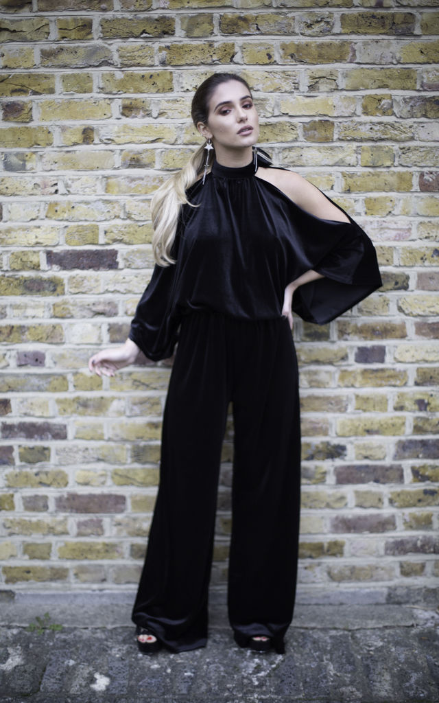 Alena Jumpsuit Black Velvet by Cheeky's
