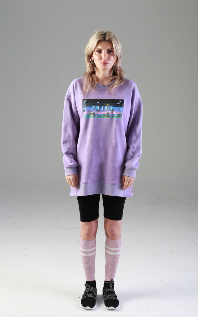 Quillattire Purple Lilac Game Over Relaxed Organic Sweat by Quillattire