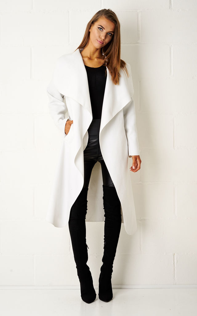 Naomi Waterfall Shawl Collar Coat In White by Frontrow Limited