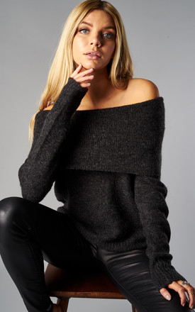 Dark Grey Melange Long Sleeve Off Shoulder Pullover Knit by ONLY Product photo