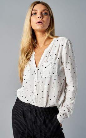 Cloud Dancer Star Print Long Sleeve Shirt With Pockets by ONLY Product photo