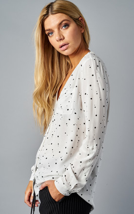 CLOUD DANCER STAR PRINT LONG SLEEVE SHIRT WITH POCKETS by ONLY