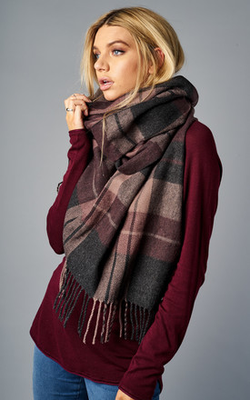 DARK GREY MELANGE WEAVED CHECK SCARF by ONLY