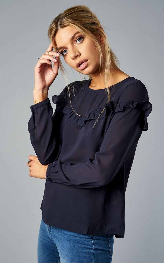 NIGHT SKY LONG SLEEVE RUFFLE TOP by ONLY